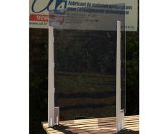 Ecran de protection transparent L700 x H980 mm avec guichet central