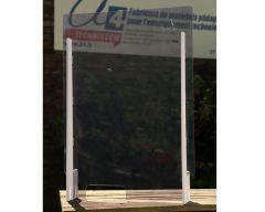 Ecran de protection transparent L700 x H980 mm avec guichet latéral