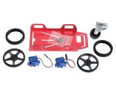 Plateforme robotique alu 75x157, 2 mini moteurs CC + accessoires