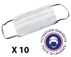Lot de 10 masques barrière, cat. 1, lavable 10 fois, testé DGA